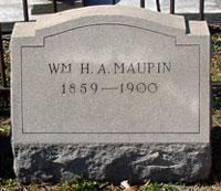 William H. A. Maupin's gravestone - click to launch popup